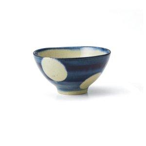 画像1: 【飯碗コレクション】刷毛水玉飯碗 小 青