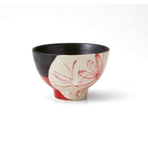 画像1: 【飯碗コレクション】花飯碗 小 黒赤